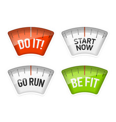 bathroom scales displaying do it start now go run vector image