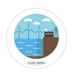 clean energy tidal energy factory vector image vector image