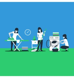 Cleaning house services woman ironing vector
