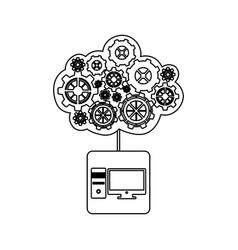 concept of maintenance service of desktop computer vector image vector image