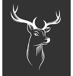 Deer head on black background vector image