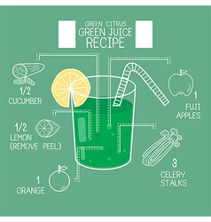 Green citrus juice recipes great detoxifier vector image