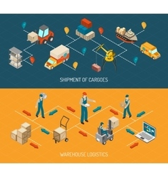 Logistic Delivery And Warehouse Banners Set vector image vector image