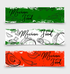 mexican food banners design with sketch dishes vector image vector image