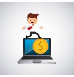 successful businessman with laptop icon vector image