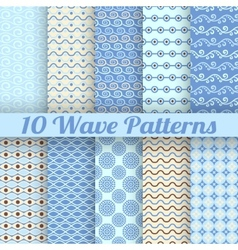 10 Wave different seamless patterns tiling vector image vector image