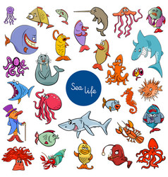 cartoon sea life animal characters collection vector image