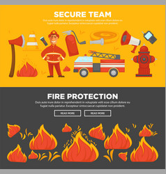 fire protection and firefighter team of fire vector image vector image