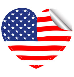 flag of america in heart shape vector image vector image