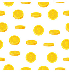 golden coin seamless pattern in flat style cash vector image