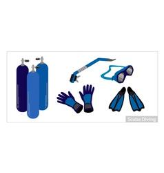 Set of Underwater Diving Equipment on White vector image