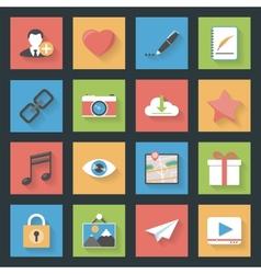 Socia media web flat icons set vector image vector image