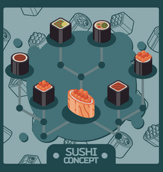 sushi color isomeric concept icons vector image vector image