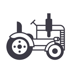 tractor line icon sign on vector image vector image