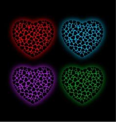 Valentine hearts glowing in the dark vector image