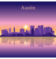 Austin silhouette on sunset background vector image vector image