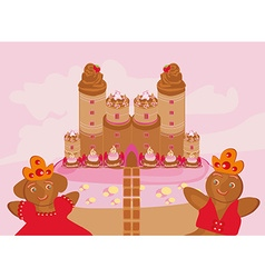 castle with candy vector image