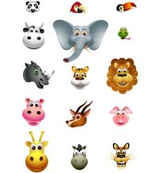 cute head animal cartoon collection vector image vector image