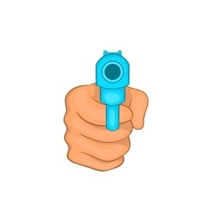 Hand pointing with the gun icon cartoon style vector image