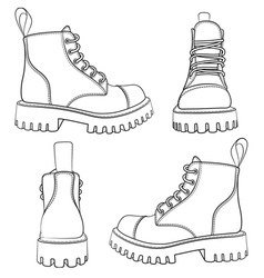 Set of drawings with boots isolated objects vector image vector image