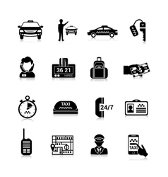 Taxi icons black vector