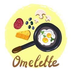 top view omellete cooking ingredients cartoon free vector image