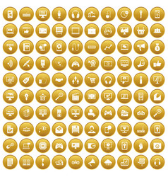 100 web and mobile icons set gold vector