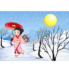 A Chinese lady walking under the snow vector