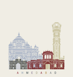 Ahmedabad skyline poster vector