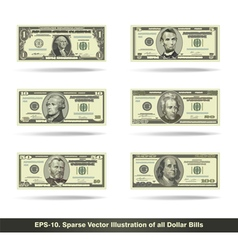 All Dollar Bills Flat vector image