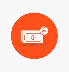 banknotes cash dollars flow money white glyph vector image