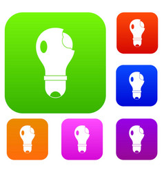 broken lightbulb set color collection vector image