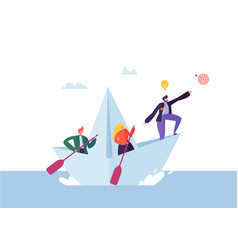 business people floating on a paper ship flat vector image