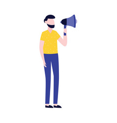 businessman with megaphone advertising vector image