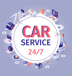 car service banner offer 24 to7 customer support vector image