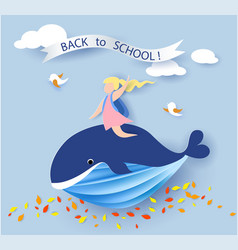 Card with kids sitting on whale flying on blue sky vector
