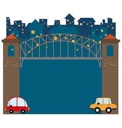 Cars under bridge vector