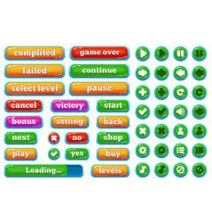 Cartoon casual video games user interface buttons vector