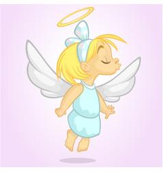 cartoon cute happy christmas angel vector image