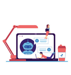 chat bot in laptop woman man freelance vector image