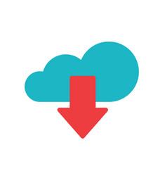 Cloud download icon flat cartoon blue vector