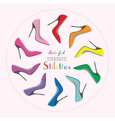 Colorful stiletto high heels set in circle layout vector