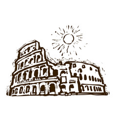 colosseum in rome italy hand drawn sketch vector image