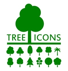concept green tree set vector image