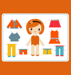 Cute female paper doll with the variety of bright vector
