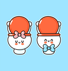 Cute funny happy white boy and girl toilet bowl vector