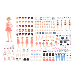 cute young girl diy or constructor kit bundle of vector image