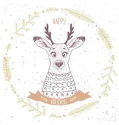 Deer cute character vector image