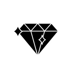 Diamond black icon sign on isolated vector