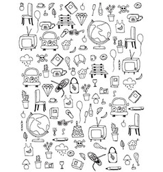 Everyday things handdrawn black and white vector